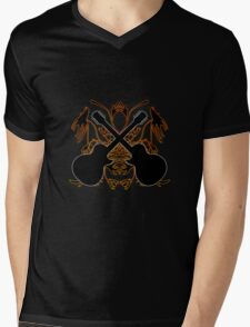 Crossed Guitars with Tribal Graphics Mens V-Neck T-Shirt
