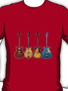 Four Hollow Body Guitars T-Shirt