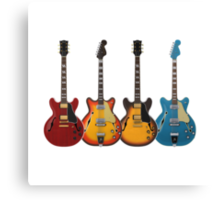 Four Hollow Body Guitars Canvas Print