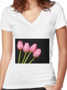 Four Pink Tulips Women's Fitted V-Neck T-Shirt