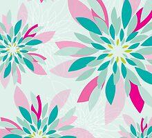 modern dahlia floral pattern 1 by Kat Massard