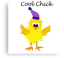 Funny Yellow Cool Chick Cartoon Canvas Print