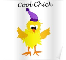 Funny Yellow Cool Chick Cartoon Poster