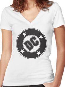 DC COMICS - BLACK Women's Fitted V-Neck T-Shirt