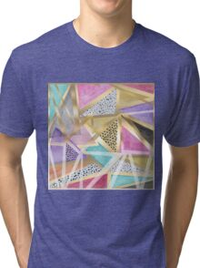 Geometric triangles watercolor hand paint pattern Tri-blend T-Shirt