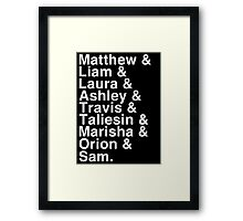 The Cast of Critical Role - Helvetica List (Inverted) Framed Print