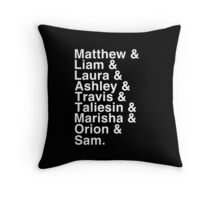 The Cast of Critical Role - Helvetica List (Inverted) Throw Pillow