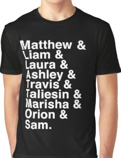The Cast of Critical Role - Helvetica List (Inverted) Graphic T-Shirt