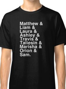 The Cast of Critical Role - Helvetica List (Inverted) Classic T-Shirt