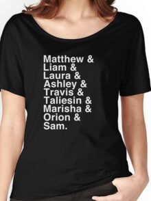 The Cast of Critical Role - Helvetica List (Inverted) Women's Relaxed Fit T-Shirt