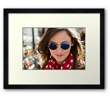Beautiful woman wearing round sun glasses Framed Print
