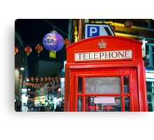 Red phone booth in Chinatown Canvas Print