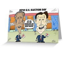 Obama Romney political cartoon Greeting Card