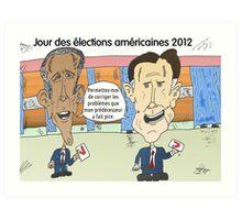 OBAMA et ROMNEY en caricature politique Art Print