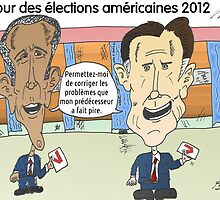 OBAMA et ROMNEY en caricature politique by Binary-Options