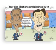 OBAMA et ROMNEY en caricature politique Canvas Print