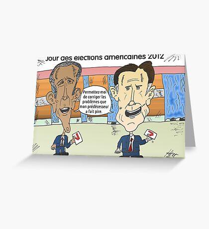 OBAMA et ROMNEY en caricature politique Greeting Card