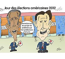 OBAMA et ROMNEY en caricature politique Photographic Print