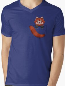 Pocket Red panda  Mens V-Neck T-Shirt