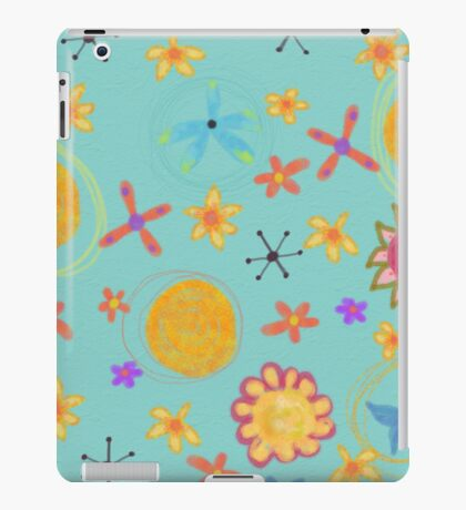 Turquoise With Yellow Flowers, Floral Art iPad Case iPad Case/Skin