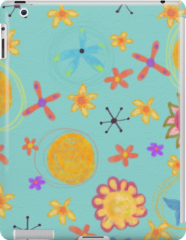 Turquoise With Yellow Flowers, Floral Art iPad Case by Cherie Balowski