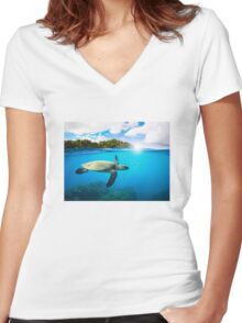Tropical Paradise Women's Fitted V-Neck T-Shirt