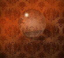 Brown Damask, Crystal Ball iPad Case by Cherie Balowski