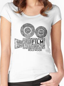Film Camera Typography - Black Women's Fitted Scoop T-Shirt