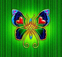 Celtic Butterfly on Green by chromedreaming