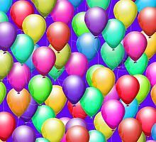 Bright Balloons on Purple, iPad Case by Cherie Balowski