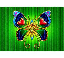Celtic Butterfly on Green Photographic Print
