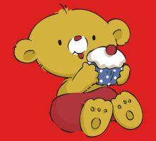 Christmas Bear eating Cupcake Baby Tee