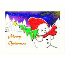 Merry Christmas from Snow Baby Art Print
