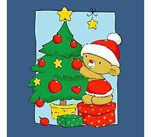 Christmas Bear decorating Christmas tree Photographic Print