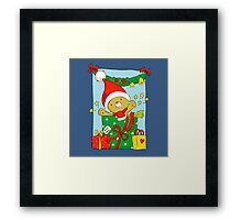 Christmas Bear with presents Framed Print