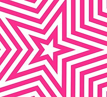 Pink and White Star Kaleidoscope Pattern  by runninragged