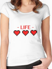 Retro Gaming Life Hearts Women's Fitted Scoop T-Shirt