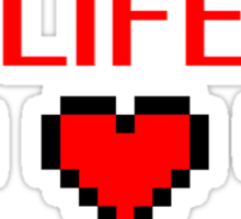 Retro Gaming Life Hearts Sticker