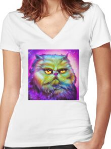 LouLou, persian cat Women's Fitted V-Neck T-Shirt