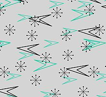 Gray Atomic Retro Fifties Patterns, iPad Case by Cherie Balowski