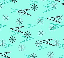 Turquoise Atomic Arrows, Fifties, iPad Case by Cherie Balowski