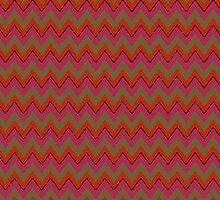 Red, Olive Green, Black Chevron Stripes iPad Case by Cherie Balowski