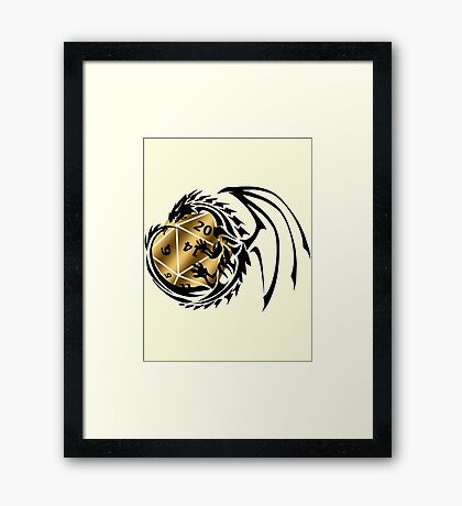 Dungeons and Dragons - Black and Gold! Framed Print