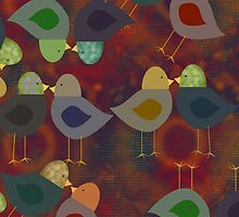 Textured Look Chatter Birds, iPad Case by Cherie Balowski