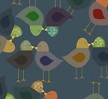 Fabric Textured Look Birds, iPad Case by Cherie Balowski