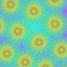 Yellow Kaleidoscope Flowers iPad Case by Cherie Balowski