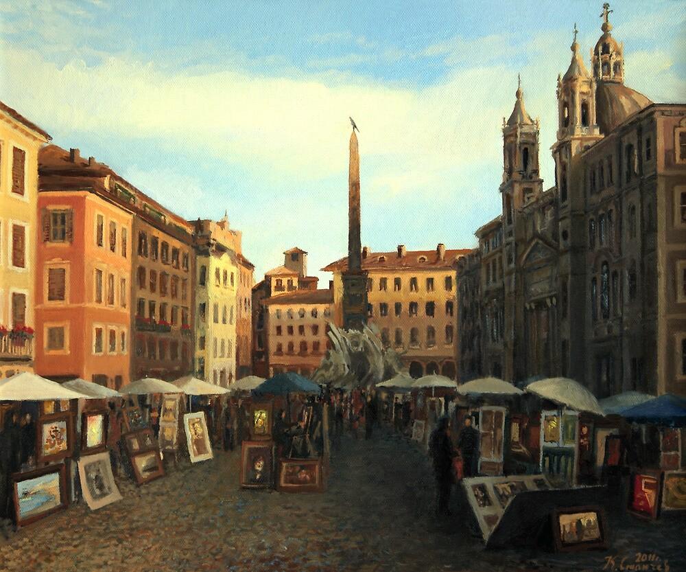 Piazza Navona in Rome by kirilart