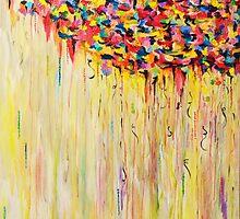 Raining Sunshine - Bold Bright Sunny Colorful Rain Storm Abstract Acrylic Painting by EbiEmporium