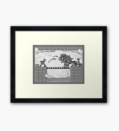 Super Mario Final Koopa Vintage Engraving Framed Print