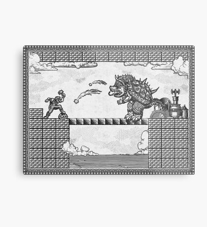 Super Mario Final Koopa Vintage Engraving Metal Print